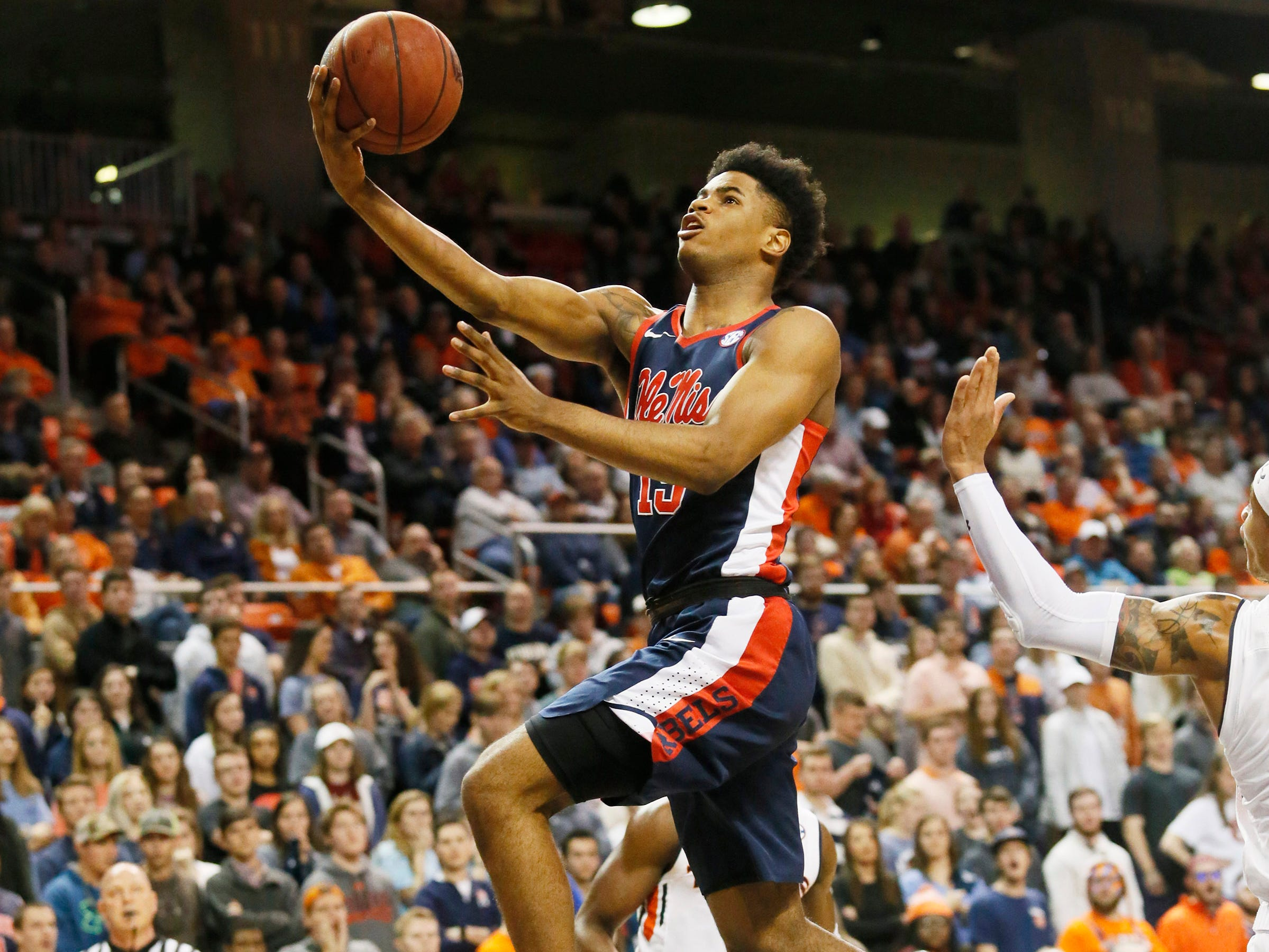 Feb 13, 2019; Auburn, AL, USA; Ole Miss Rebels forward Luis Rodriguez (15) takes a shot against the Auburn Tigers during the first half at Auburn Arena. Mandatory Credit: John Reed-USA TODAY Sports