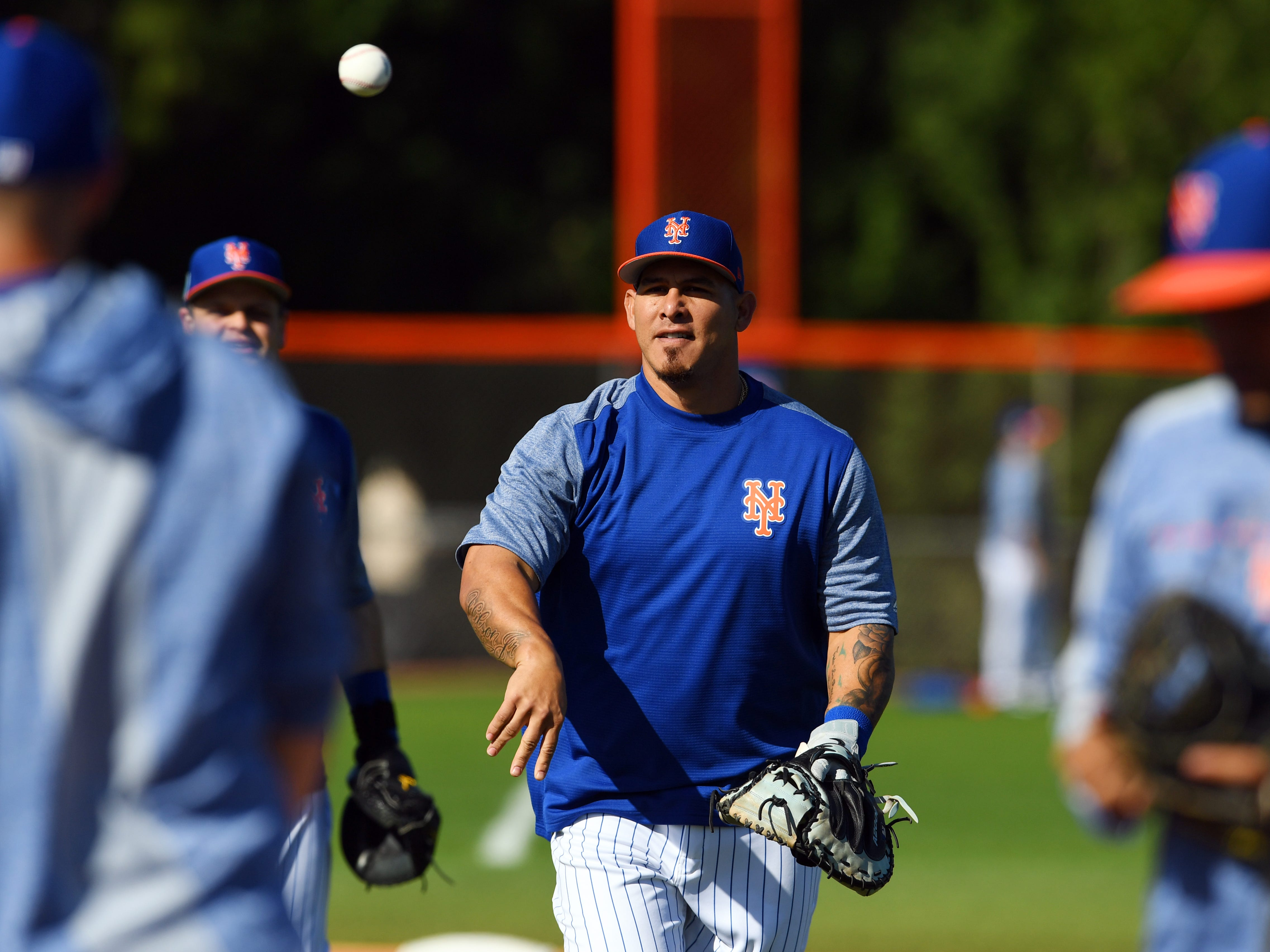 New York Mets catcher Wilson Ramos runs through morning drills on Thursday, Feb. 14, 2019 during an official spring training workout for pitchers and catchers at First Data Field in Port St. Lucie.