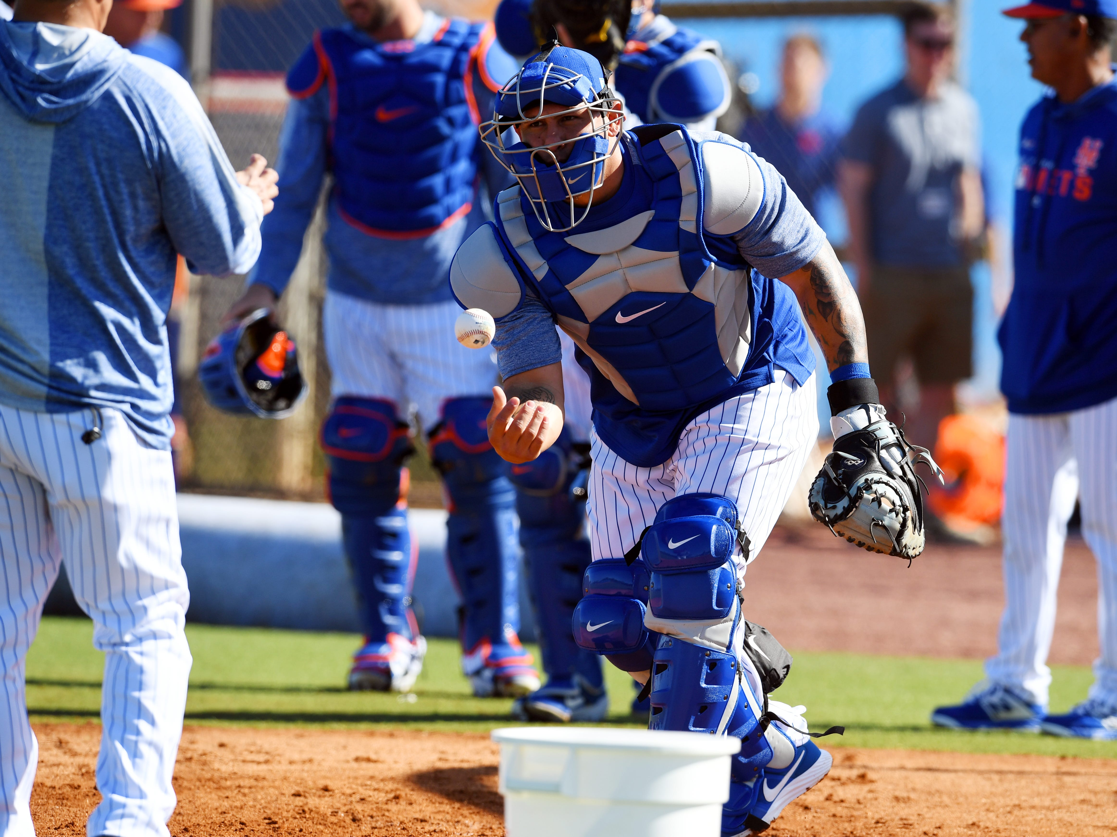 New York Mets catcher Wilson Ramos catches a few ball behind the plate on Thursday, Feb. 14, 2019 during an official spring training workout for the club's pitcher and catchers at First Data Field in Port St. Lucie.