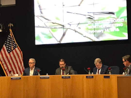 South Florida Water Management District board Chairman Federico Fernandez, second from left, declares Thursday, Feb. 14, 2019, the board has no quorum for its February meeting. Other members attending are, from left, Brandon Tucker, James Moran and Sam Accursio.