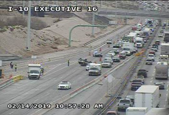 A rollover accident has caused traffic delays on Interstate 10 West near Executive Center Boulevard.