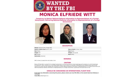 This image provided by the FBI shows the wanted poster for Monica Elfriede Witt. The former U.S. Air Force counterintelligence specialist who defected to Iran despite warnings from the FBI has been charged with revealing classified information to the Tehran government, including the code name and secret mission of a Pentagon program, prosecutors said Wednesday.
