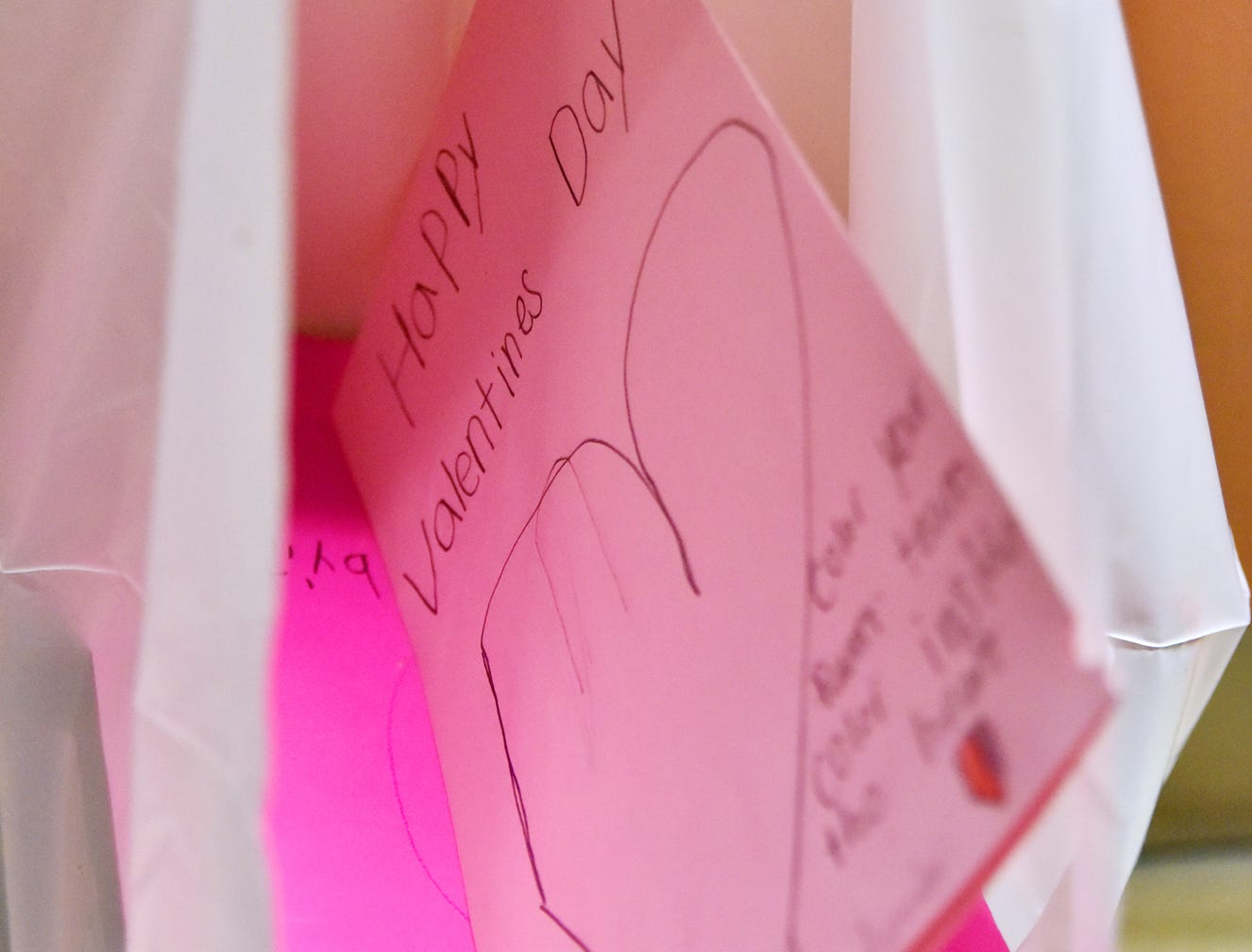 Bags outside of patient rooms were filled with homemade Valentine's Day cards at the Prisma Health Children's Hospital.