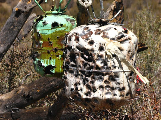 In 2016, Los Padres ForestWatch released this photo of canisters of propane and other flammable materials that were found at a target shooting site in the forest.