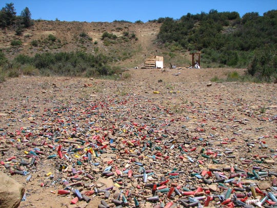 In its 2016 report on recreation target shooting, Los Padres ForestWatch released this photo of shell casings found at a site in the Ojai Ranger District.