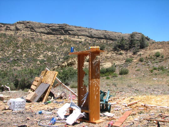 In a 2016 report, Los Padres ForestWatch included this photo of debris abandoned at a target-shooting site along Sespe Creek in Los Padres National Forest.