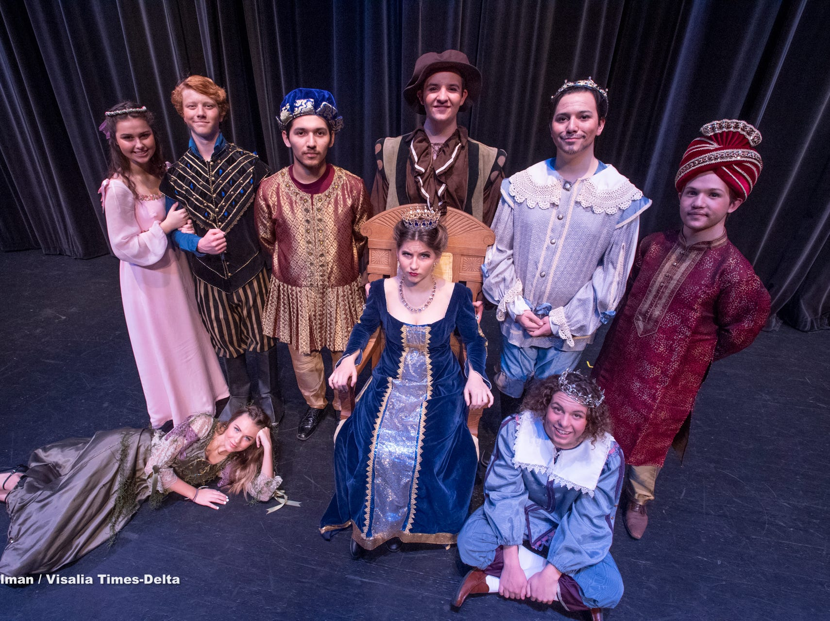 Redwood students rehearse for their production of Once Upon a Mattress in the L.J. Williams Theater on Wednesday, February 13, 2019.