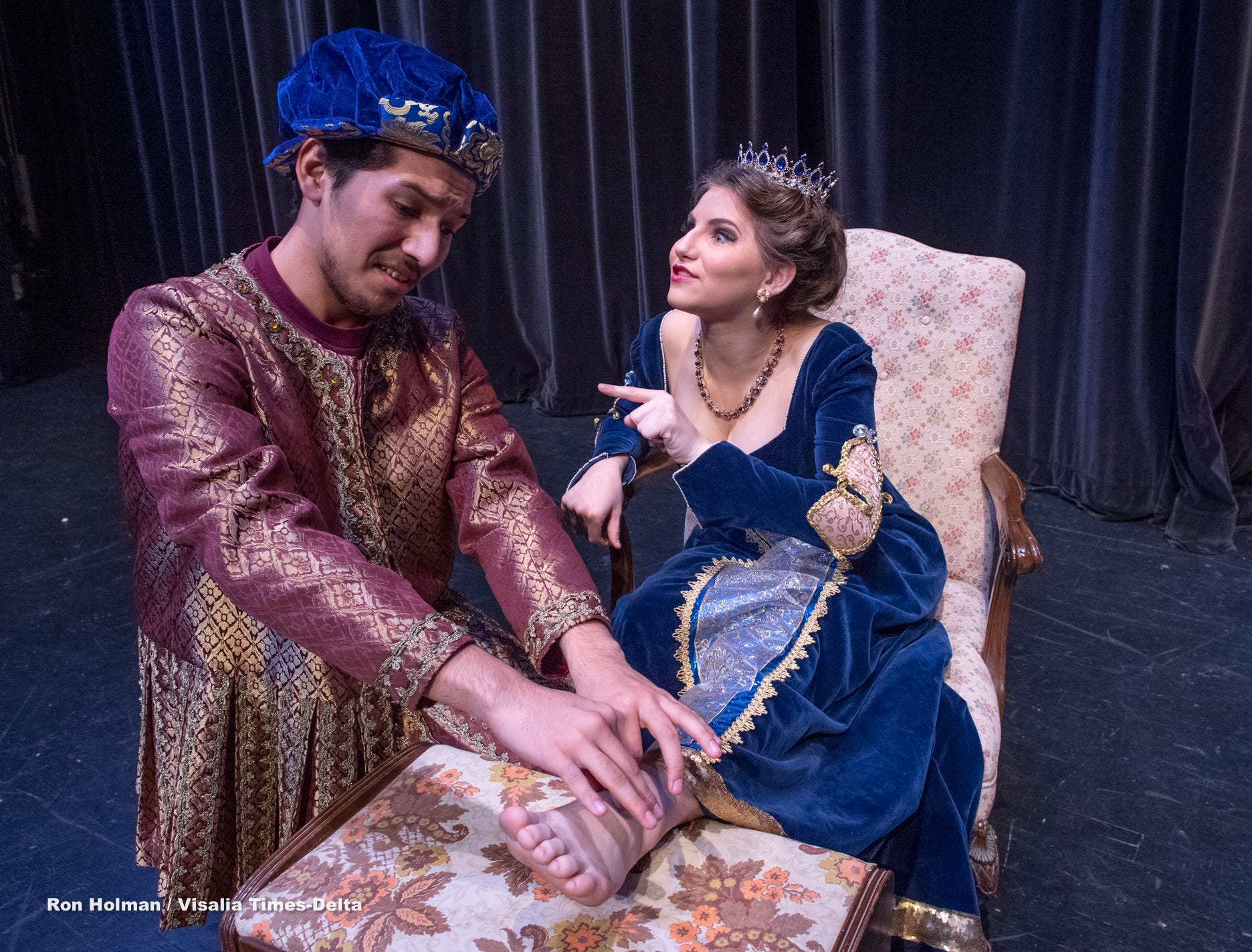 Students Bryan Trejo, left, and Jessica Peters rehearse for Redwood's production of Once Upon a Mattress in the L.J. Williams Theater on Wednesday, February 13, 2019.