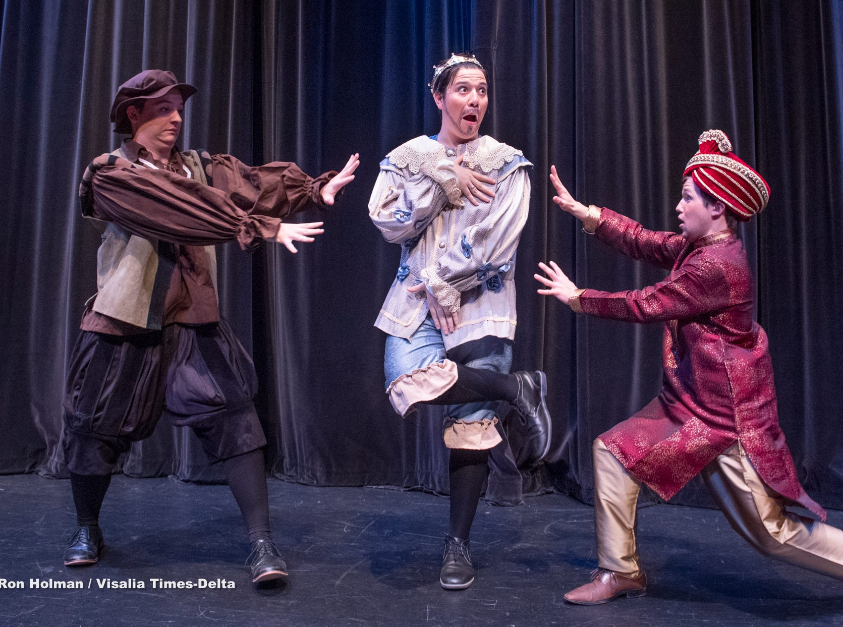 Students Luca Sampietro, left, Gilbert Rivas and Parker Chalabian rehearse for Redwood's production of Once Upon a Mattress in the L.J. Williams Theater on Wednesday, February 13, 2019.