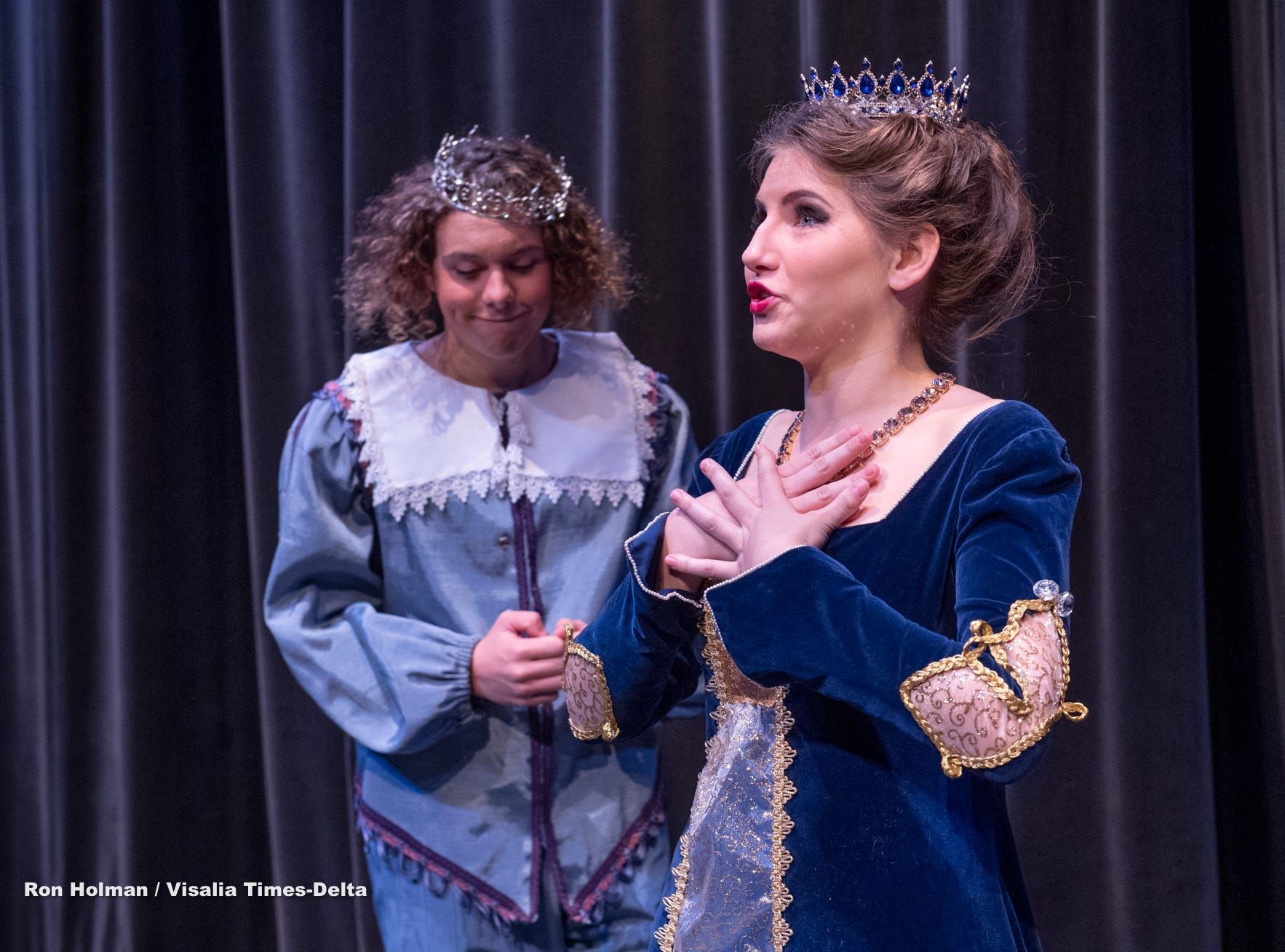 Students Jessica Peters, right, and Soloman Stahl rehearse for Redwood's production of Once Upon a Mattress in the L.J. Williams Theater on Wednesday, February 13, 2019.