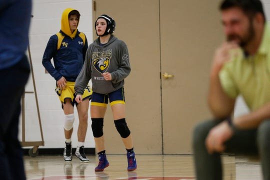 River Falls' Josie Bartishofski warms up prior to her 106-pound match on Wednesday, Feb. 13, 2019, during a Division 1 team sectional at Wausau East High School in Wausau, Wis.