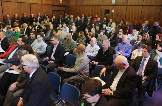 People pack the room for the Public Service Commission's hearing on the Con Edison gas moratorium at the White Plains Public Library Feb. 13,  2019.