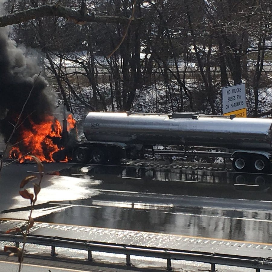 Tractor trailer with combustible liquid catches fire on I-287, all lanes reopened