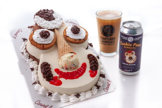Captain Lawrence Brewing and Carvel collaborate to make Cookie Puss Birthday Beer. They will also release Cookie O' Puss St. Patrick's Day Stout, in time for St. Patrick's Day 2019.