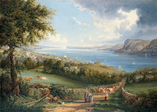"NYHS, HRS, Plate 16, ""View of the Hudson River from Near Sing Sing, NY"", Robert Havell"