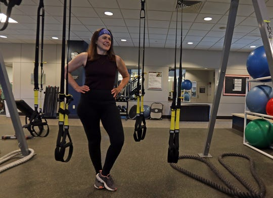 The heart Elisabeth Kepley was born with was damaged by chemo. In 2017, she got a new heart, courtesy of a 30-year-old New Rochelle native who had fallen on a worksite. Elisabeth Kepley works out at Sarner Health and Fitness at  Stamford Health's Tully Health Center in Stamford, Conn., Feb. 14, 2019.