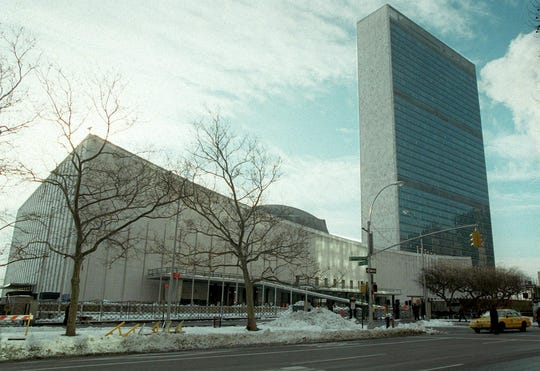 UNITED NATIONS, UN:  The United Nations headquarters building shown in a photo dated 06 February 1996 situated on First Avenue between 42nd and 47th streets in Manhattan, New York. (Photo credit should read JON LEVY/AFP/Getty Images)