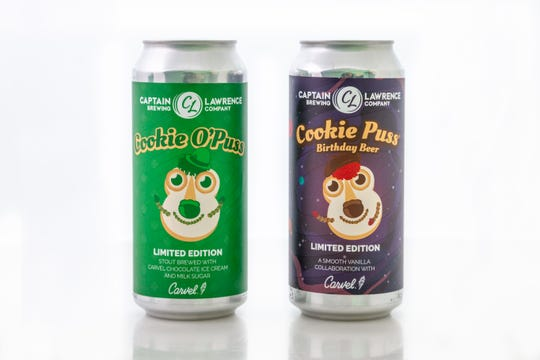 Captain Lawrence Brewing and Carvel collaborate to make Cookie Puss Birthday Beer and Cookie O' Puss St. Patrick's Day Stout, in time for St. Patrick's Day 2019.
