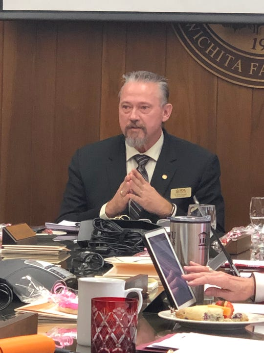 Midwestern State University Provost Dr. James Johnston discusses Thursday a corporate sponsorship with Shimadzu Medical Systems for nearly $2.5 million in equipment and services at the MSU Texas Board of Regents meeting.
