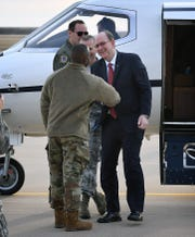 Brig. Gen. Ronald Jolly, commander of the 82nd Training Wing, Sheppard Air Force Base, greets Under Secretary of the Air Force Matthew SDonovan, right, upon his arrival Thursday morning.