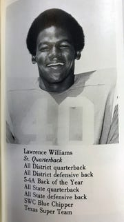 Lawrence Williams in his football uniform from his senior yearbook, Wichita Falls High School, Class of 1971.