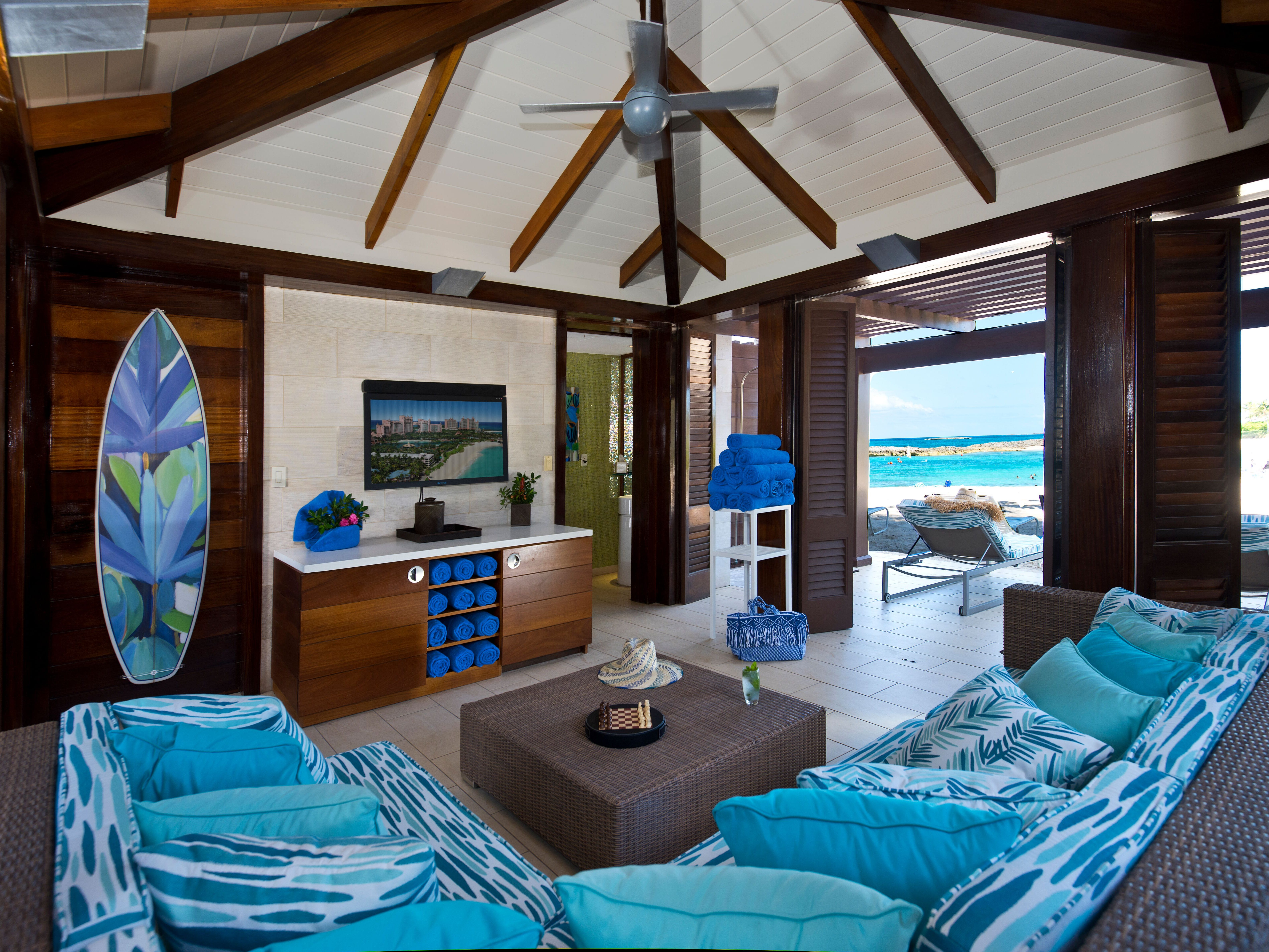 The cabanas at The Cove Pool & Beach come with a butler, flat-screen TV and on-demand spa treatments, and even have a bathroom. The going rate for a day: $800 on weekdays and $1,000 on weekends.