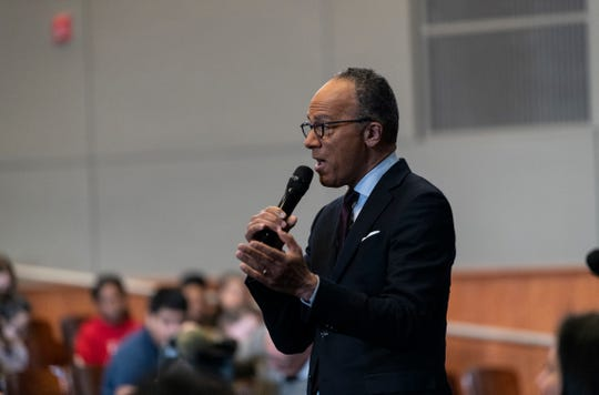 """NBC Nightly News"" anchor Lester Holt spoke to students at Woodrow Wilson High School in Washington D.C. as ambassador for Poynter's new MediaWise program."