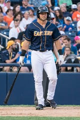 Tim Tebow shown picking up a bat at the end of the second inning during the Eastern League All-Star Game at ARM & HAMMER Park in July 2018.