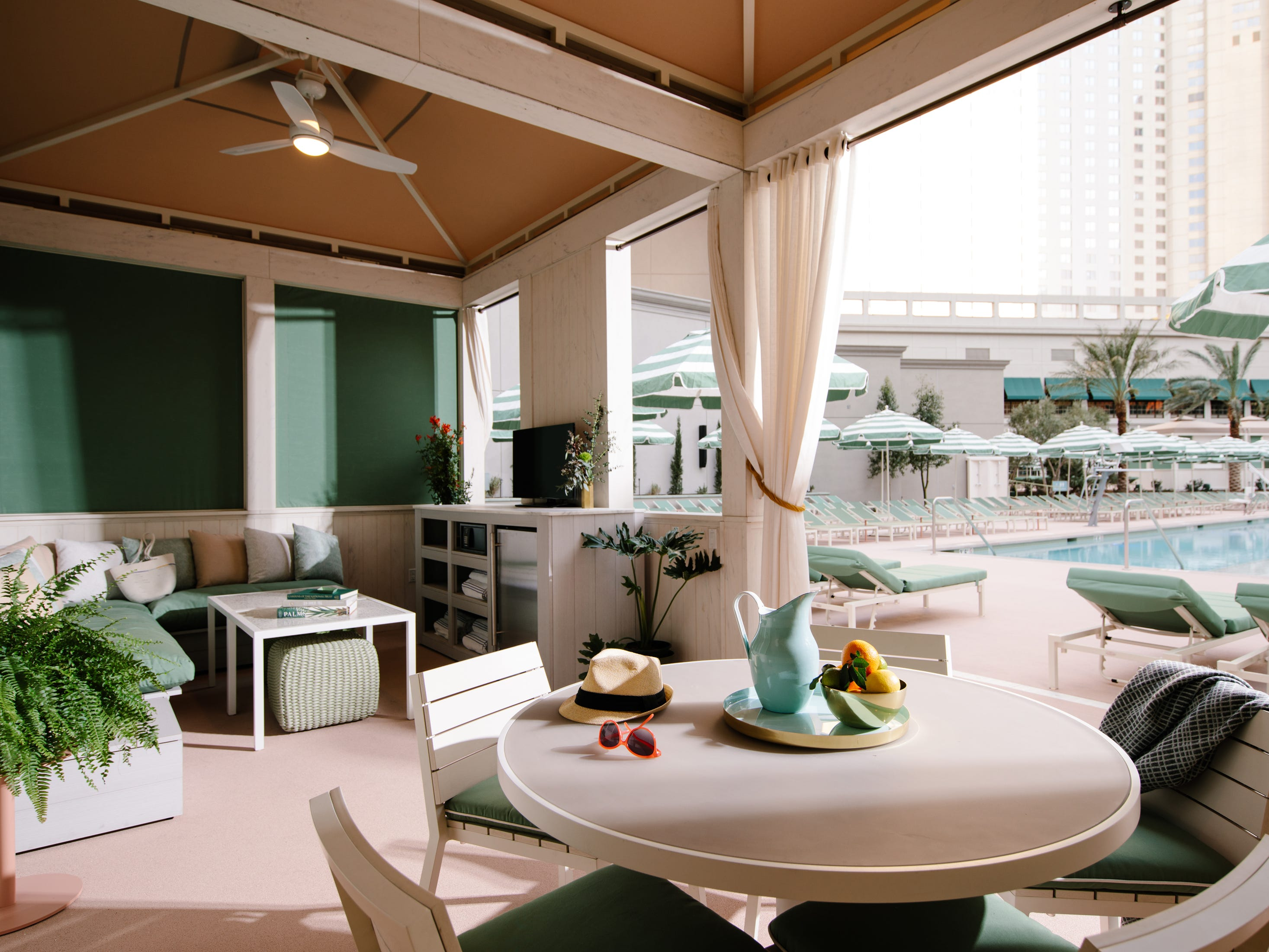 The Park Bungalow cabana at the new Park MGM hotel in Las Vegas. It seats up to 20 and features a TV, dining table, ceiling fan and misting services. Rates start at $350 a day.