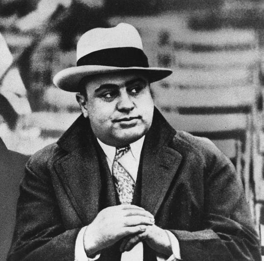 This Jan. 19, 1931 file photo shows Chicago mobster Al Capone at a football game.