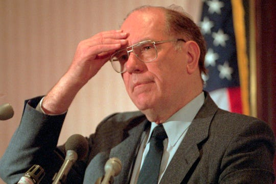 In this Feb. 3, 1994, file photo, Lyndon LaRouche Jr. gestures during a news conference in Arlington, Va.