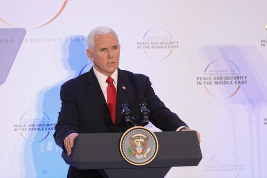 Vice President Mike Pence delivers a speech during the second day of an international conference devoted to peace and security in the Middle East, in Warsaw, Poland, on Feb. 14, 2019.