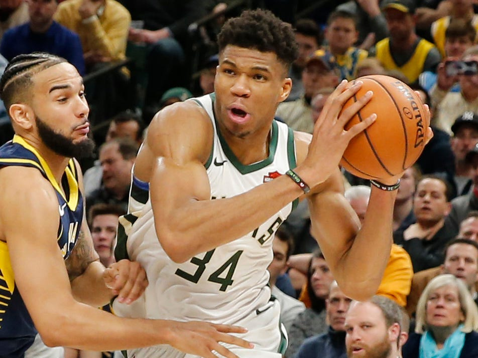 83. Giannis Antetokounmpo, Bucks (Feb. 13): 33 points, 19 rebounds, 11 assists in 106-97 win over Pacers (fifth of season).