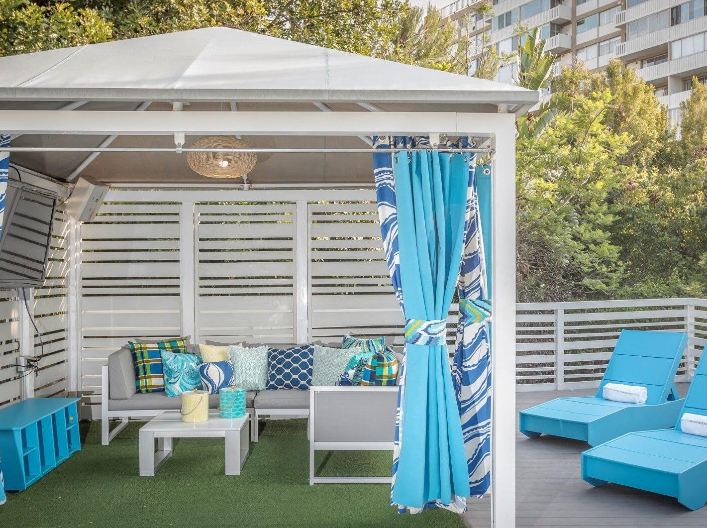 The Trina Turk-designed pool cabanas at the W Los Angeles West Beverly Hills scream tropical vacation. The hotel's cabanas range from $400-$800 daily.