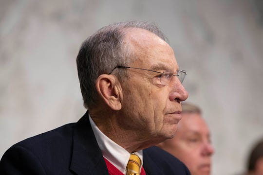 Sen. Chuck Grassley, R-Iowa, asks Attorney General nominee William Barr questions during his confirmation hearing before the Senate Judiciary Committee Jan. 15, 2019.