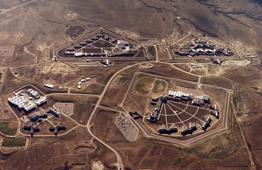 This Feb. 11, 2004, file photo provided by the Bureau of Prisons shows the Federal Correctional Complex in Florence, Colo. This shows the minimum security for Federal Prison Camp, the high security United States, the maximum security United States Penitentiary and the Federal Correctional Institution