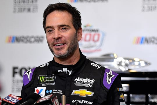 NASCAR Cup Series driver Jimmie Johnson speaks during the media day for the Daytona 500 at Daytona International Speedway.