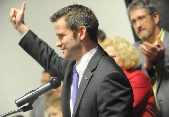 Rep. Adam Kinzinger, R-Ill., speaks to the crowd at Starved Rock State Park Lodge and Convention Center on March 20, 2012, in Utica, Ill.