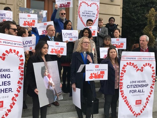 The Rev. Jennifer Butler, CEO of Faith in Public Life, and other faith leaders gathered Feb. 14, 2019, across from the U.S. Capitol in Washington, D.C., to protest a measure that would, among other things, provide funds for a border barrier.