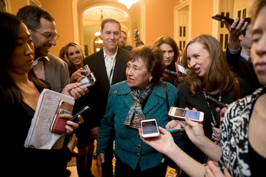 House Appropriations Committee Chair Nita Lowey, D-N.Y., speaks to reporters as she walks out of a border security and government funding meeting at the Capitol on Capitol Hill, Monday, Feb. 11, 2019, in Washington D.C.