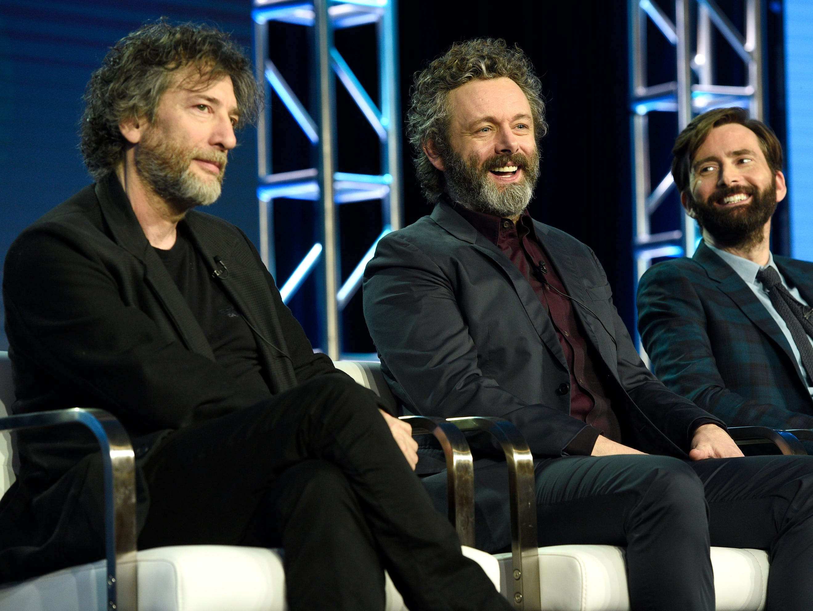"""Executive producer/showrunner Neil Gaiman and actors Michael Sheen and David Tennant discuss their new Amazon Prime series """"Good Omens."""""""
