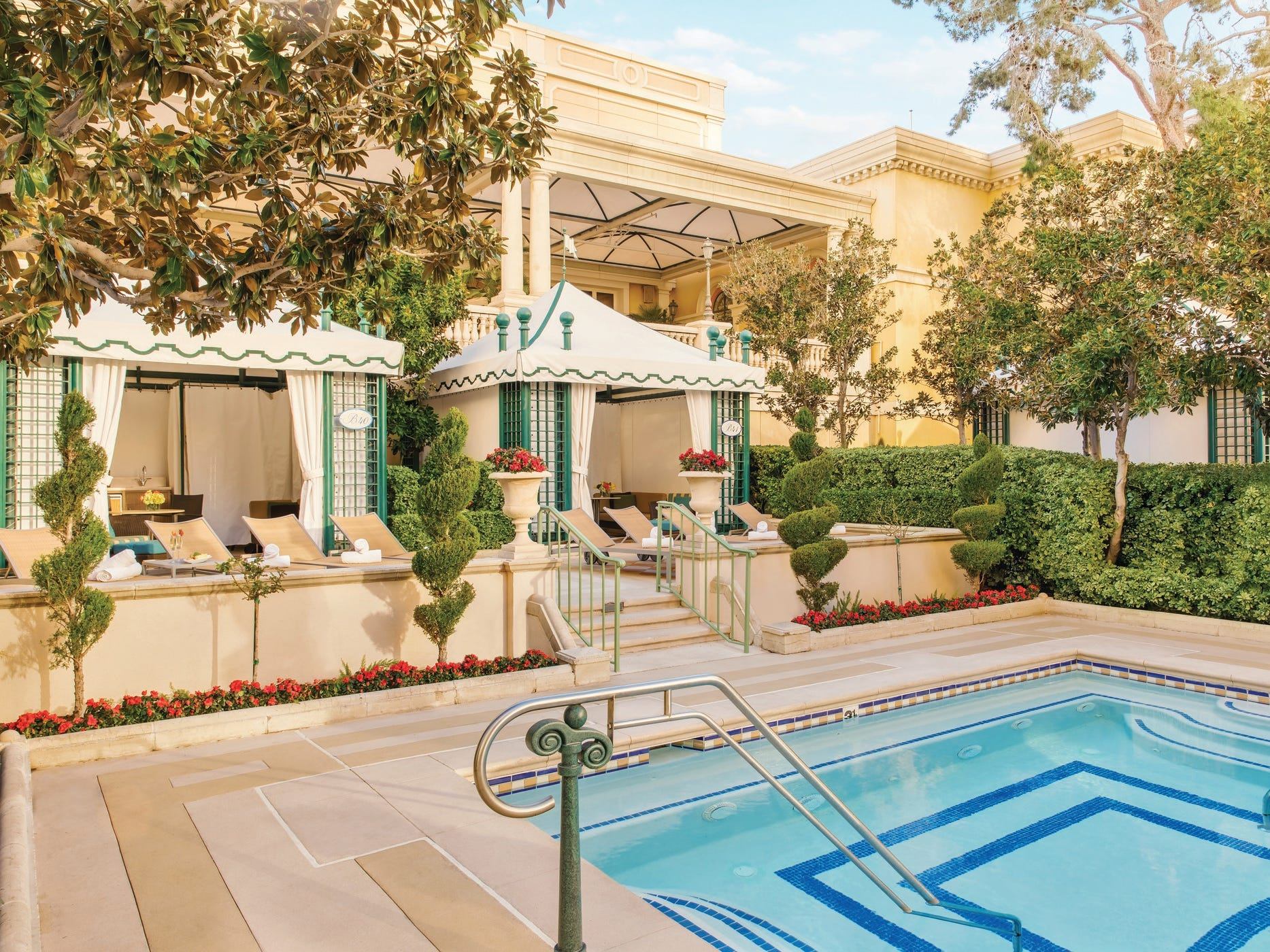 The luxe Bellagio resort in Las Vegas supersizes everything, including its cabanas. The Chairman's Cabana, which starts at $1,000 a day, is two cabanas that seat up to 20. There are 10 lounge chairs, a dining table and a private jacuzzi.