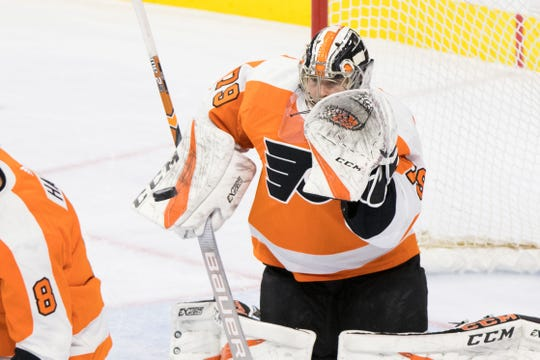 Flyers goaltender Carter Hart has a .924 save percentage this season.