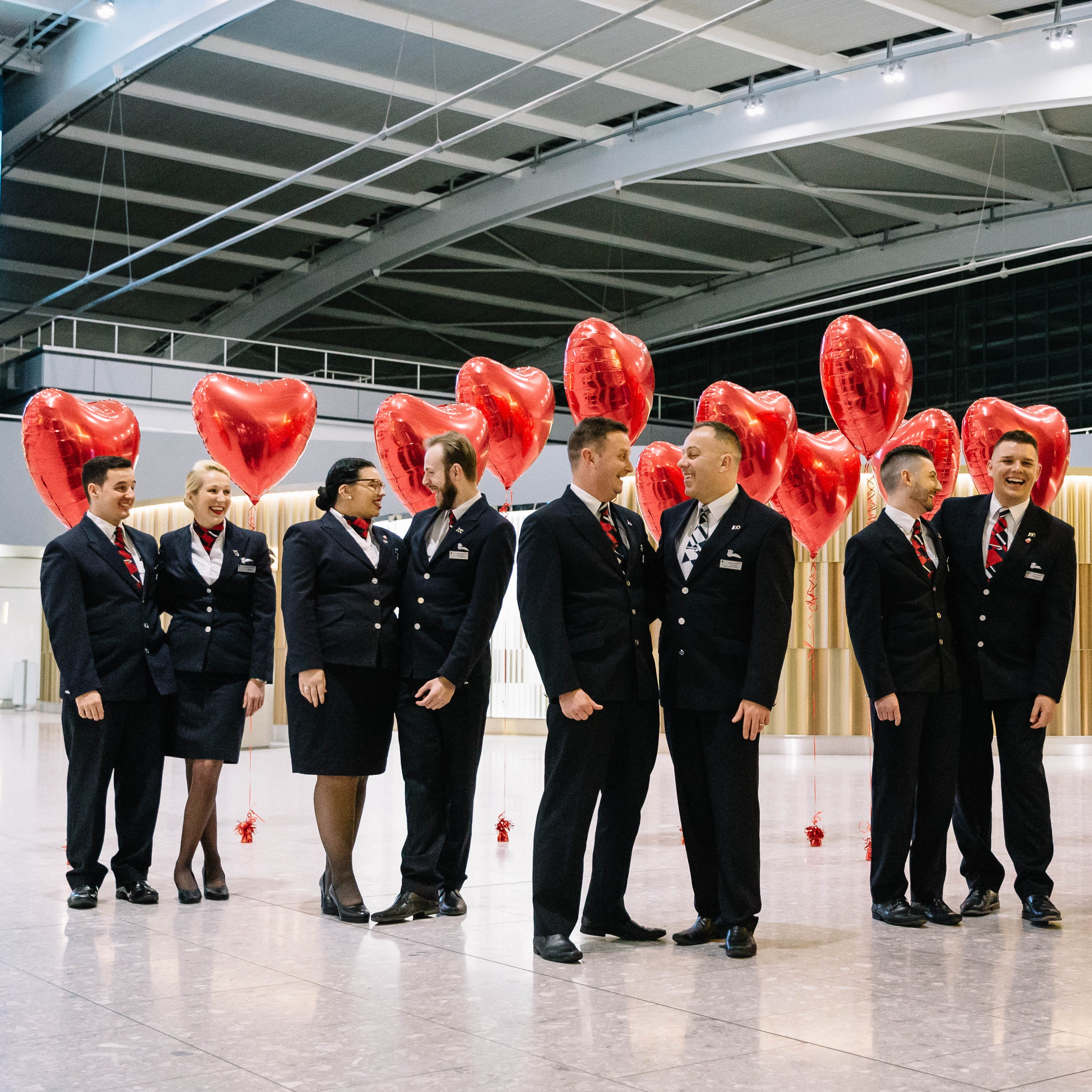 These five couples staffed British Airways' Valentine's Day flight to Buenos Aires.