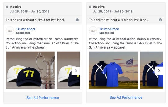Facebook had pulled more than 100 Trump Organization property ads because they were erroneously labels as political. Most have been reinstated, such as these Trump Store ads, which were reinstated Thursday.