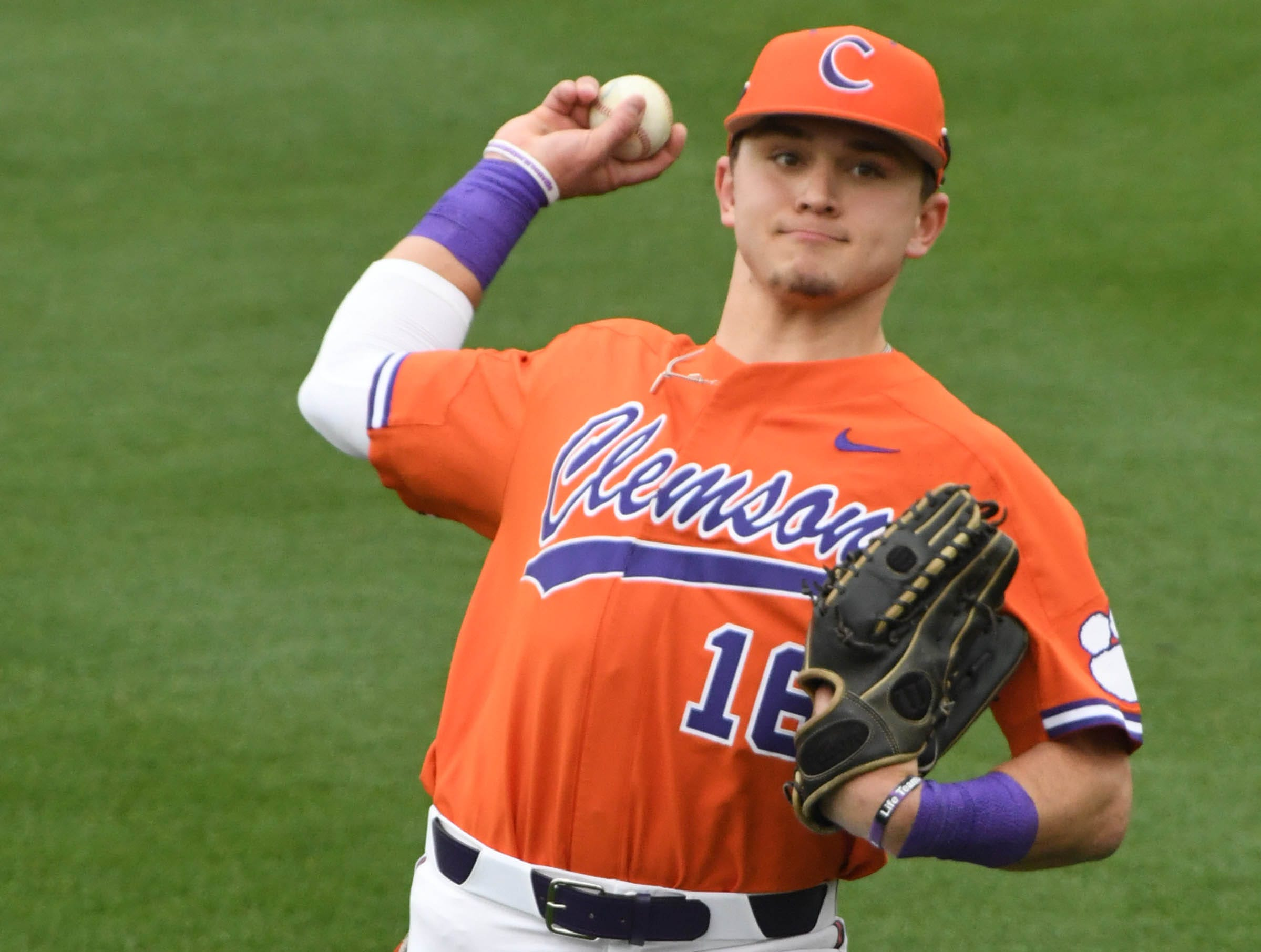 Clemson sophomore Bo Majkowski(16) warms up before the game with South Alabama at Doug Kingsmore Stadium in Clemson Friday, February 15, 2019.