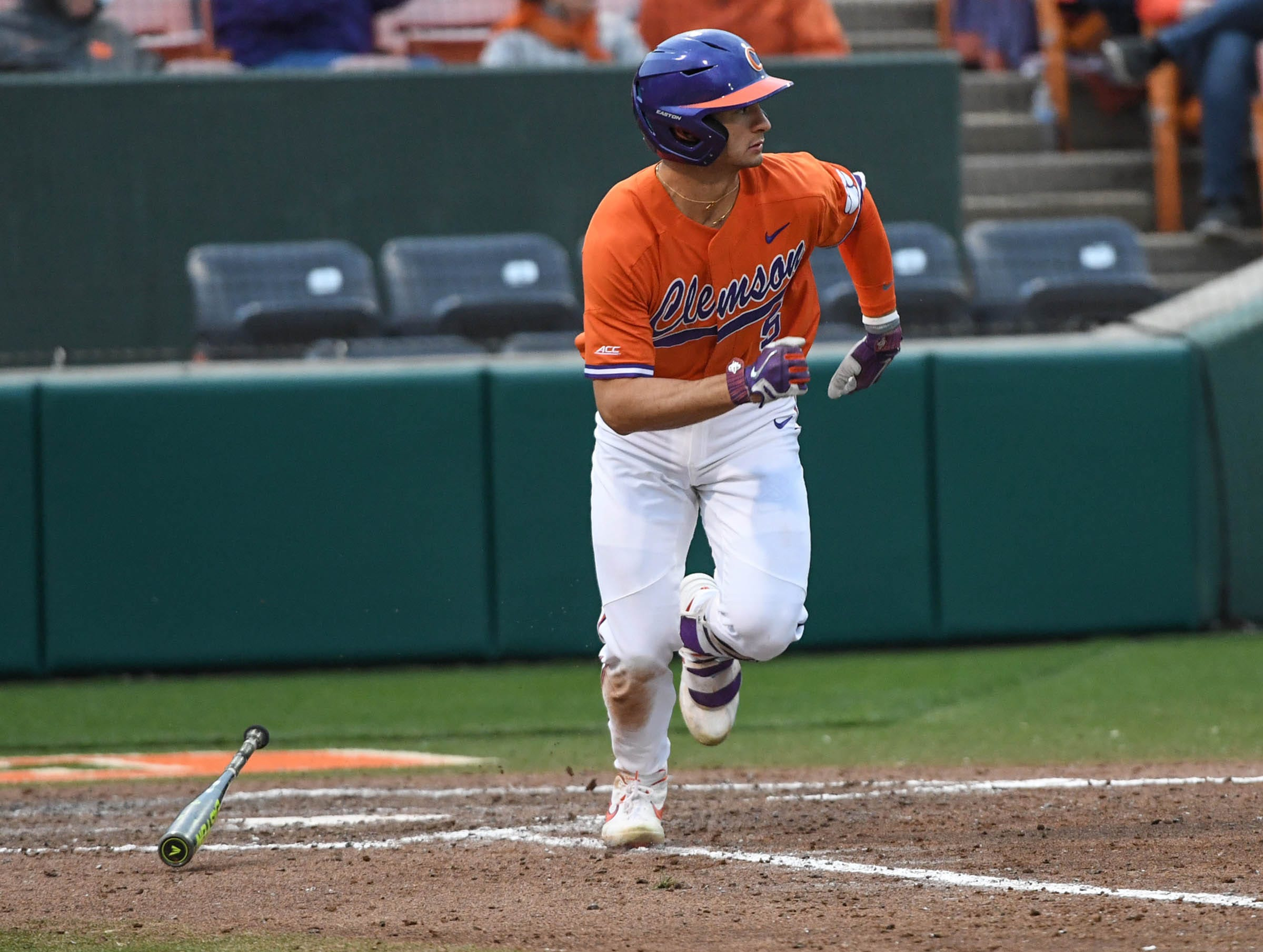 Clemson sophomore Sam Hall(5) drives in two runs against South Alabama during the bottom of the eighth inning at Doug Kingsmore Stadium in Clemson Friday, February 15, 2019.