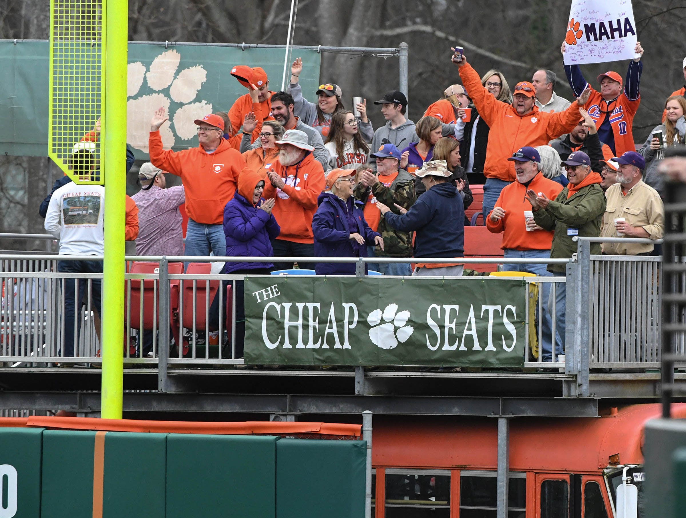 Clemson baseball Cheap Seat fans celebrate after junior Logan Davidson(8) hit a three-run home run against South Alabama during the bottom of the fifth inning at Doug Kingsmore Stadium in Clemson Friday, February 15, 2019.