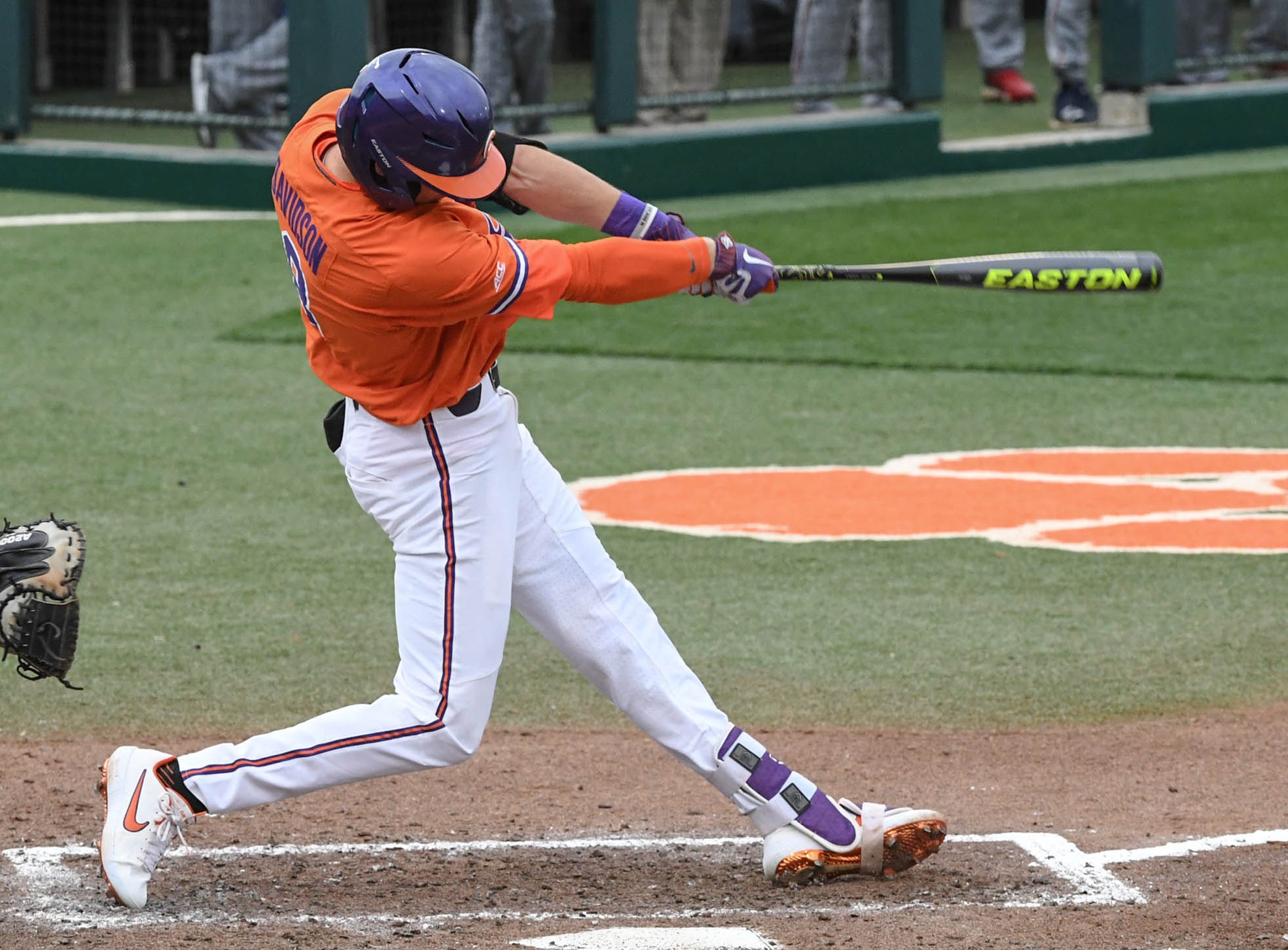 Clemson junior Logan Davidson(8) hits a three-run home run against South Alabama during the bottom of the fifth inning at Doug Kingsmore Stadium in Clemson Friday, February 15, 2019.