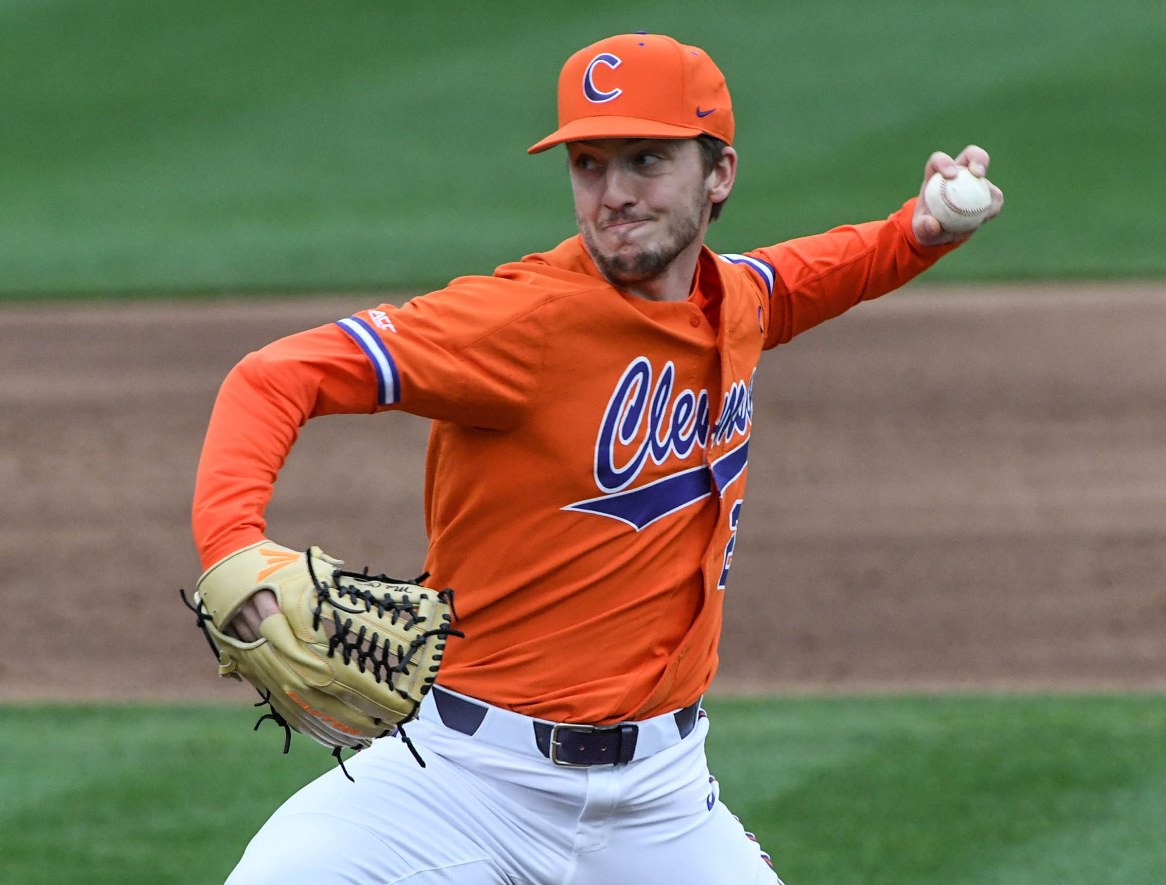 Clemson sophomore Mat Clark(20) pitches to South Alabama during the top of the sixth inning at Doug Kingsmore Stadium in Clemson Friday, February 15, 2019.